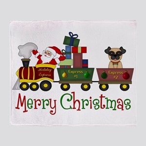 Pug in Train Delivering Presents Throw Blanket